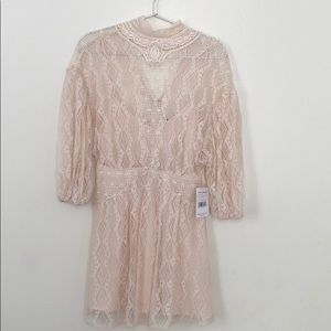 Free People cream mini lace dress